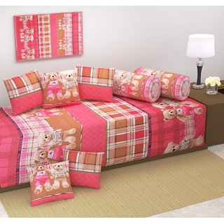 Manvi Creations Multicolored Cotton Diwan Set ( Pack Of 8 Piece)
