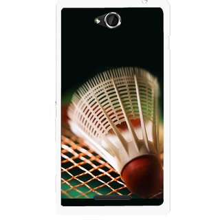 Snooky Printed Badminton Mobile Back Cover For Sony Xperia C - Multicolour