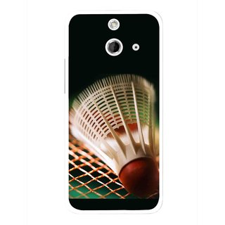 Snooky Printed Badminton Mobile Back Cover For HTC One E8 - Multicolour