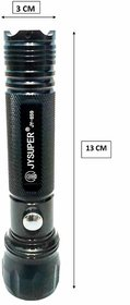 JY Super 859 High Power Flashlight LED Rechargeable Torch Black