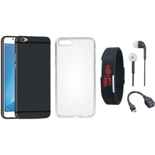 Oppo F1s Ultra Slim Back Cover with Silicon Back Cover, Digital Watch, Earphones and OTG Cable