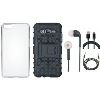 Samsung J7 Max Shockproof Kick Stand Defender Back Cover with Silicon Back Cover, Earphones, USB Cable and AUX Cable