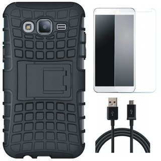 Samsung J7 Max Shockproof Kick Stand Defender Back Cover with Tempered Glass and USB Cable