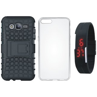Samsung J7 Max Shockproof Kick Stand Defender Back Cover with Silicon Back Cover, Digital Watch