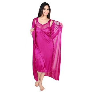 Buy Ladies Daily Wear Women Hot Satin Nighty Over Coat With 2 Pc