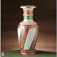 Embossed Gold Paint Marble Vase With Kundan And Cutwork