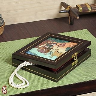 Indian Girl Musican Gem Box with Stone Inlay work