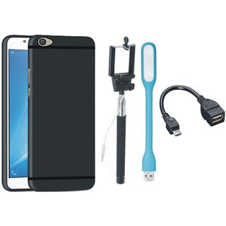 Oppo F1s Silicon Anti Slip Back Cover with Selfie Stick, LED Light and OTG Cable