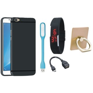 Redmi 3s Prime Soft Silicon Slim Fit Back Cover with Ring Stand Holder, Digital Watch, OTG Cable and USB LED Light