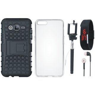 Samsung J7 Max Dual Protection Defender Back Case with Silicon Back Cover, Selfie Stick, Digtal Watch and Earphones