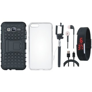 Samsung J7 Max Shockproof Tough Armour Defender Case with Silicon Back Cover, Selfie Stick, Digtal Watch, Earphones and USB Cable