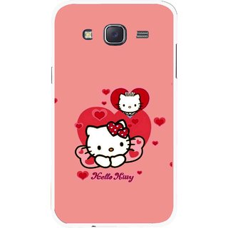 Snooky Printed Pinky Kitty Mobile Back Cover For Samsung Galaxy J7 - Pink
