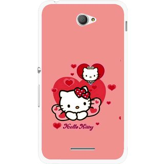 Snooky Printed Pinky Kitty Mobile Back Cover For Sony Xperia E4 - Pink