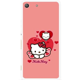 Snooky Printed Pinky Kitty Mobile Back Cover For Sony Xperia M5 - Pink