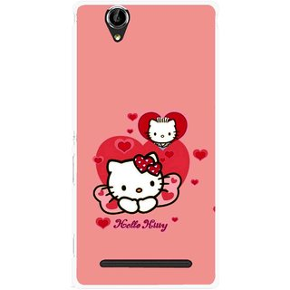 Snooky Printed Pinky Kitty Mobile Back Cover For Sony Xperia T2 Ultra - Pink