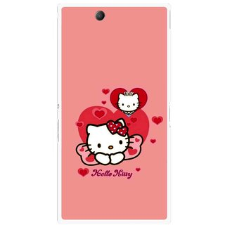 Snooky Printed Pinky Kitty Mobile Back Cover For Sony Xperia Z Ultra - Pink
