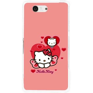 Snooky Printed Pinky Kitty Mobile Back Cover For Sony Xperia Z3 Compact - Pink