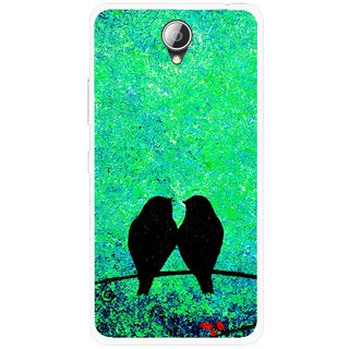 Snooky Printed Love Birds Mobile Back Cover For Lenovo A5000 - Green