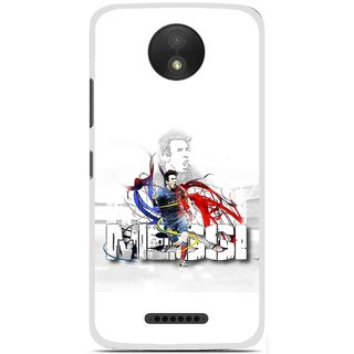 Snooky Printed Messi Mobile Back Cover For Motorola Moto C Plus - White