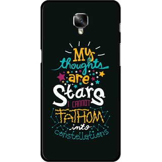 Snooky Printed Thoughts Are Stars Mobile Back Cover For OnePlus 3 - Black