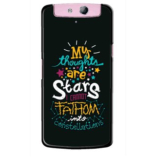 Snooky Printed Thoughts Are Stars Mobile Back Cover For Oppo N1 Mini - Black