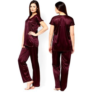 Coffee colour Satin Night wear , Night Suit  XL Size