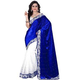 Active Womens Blue White Velvet RasalNet Half Half Saree