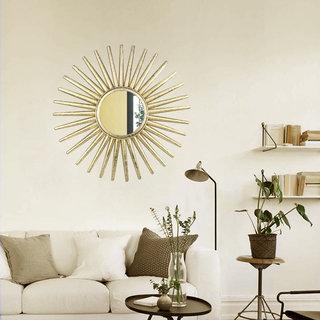 Hosley 21.25In Sun Shape Golden Foil Polish Wall Mirror