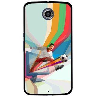 Snooky Printed Kick FootBall Mobile Back Cover For Motorola Nexus 6 - Multi