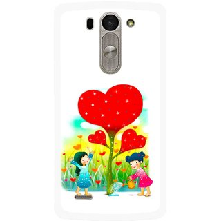 Snooky Printed Heart Plant Mobile Back Cover For Lg G3 Beat D722k - Multi