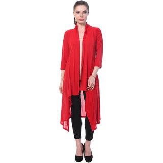 BuyNewTrend Red Plain Hosiery Lycra Long Shrug For Women