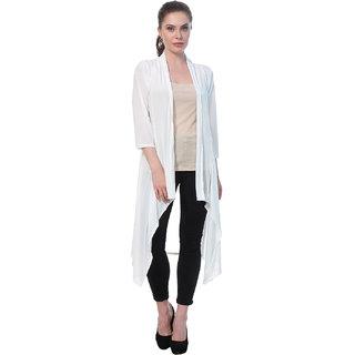 BuyNewTrend White Plain Hosiery Lycra Long Shrug For Women