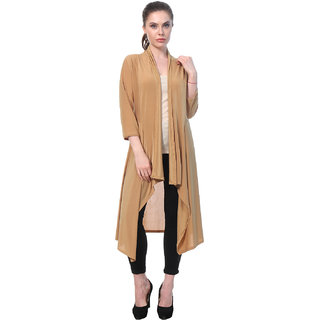 BuyNewTrend Beige Plain Hosiery Lycra Long Shrug For Women