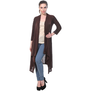 BuyNewTrend Brown Plain Hosiery Lycra Long Shrug For Women