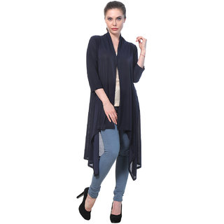 BuyNewTrend Navy Plain Hosiery Lycra Long Shrug For Women