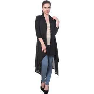 BuyNewTrend Black Plain Hosiery Lycra Long Shrug For Women