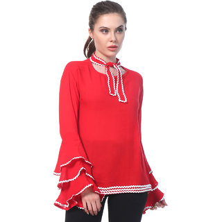 8c501e41e0fe8 Buy BuyNewTrend Red Crepe Bell-Sleeve Neck-Tie Top For Women Online - Get  68% Off