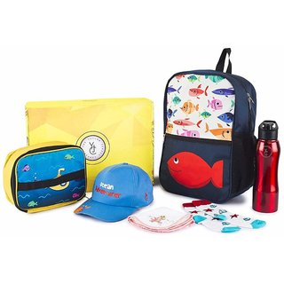 The Yellow Jersey Company (YJC) 6 Item Set- Underwater Theme (School Bag (Blue) + Lunch Bag + Bottle + Towel + Cap + Socks (Age 2-5 years))