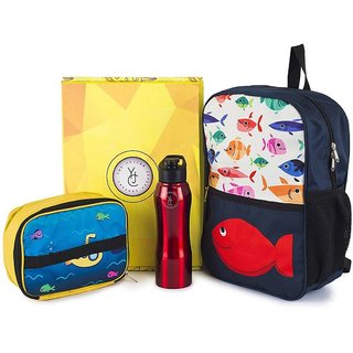 The Yellow Jersey Company (YJC) 3 Item Set- Underwater Theme (School Bag (Blue) + Lunch Bag + Bottle)