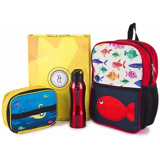 The Yellow Jersey Company (YJC) 3 Item Set- Underwater Theme (School Bag (Red) + Lunch Bag + Bottle)