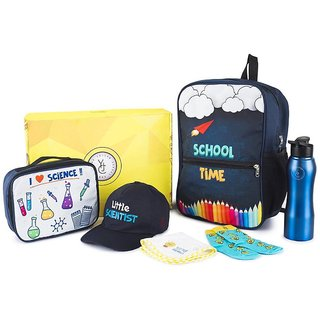 The Yellow Jersey Company (YJC) 6 Item Set- Scientist Theme (School Bag (Blue) + Lunch Bag + Bottle + Towel + Cap + Socks (Age 2-5 years))