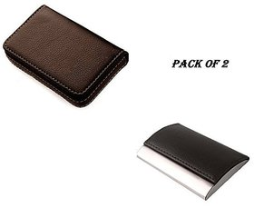 SK ENTR BROWN Soft, RFID Stainless Steel ATM / Visiting /Credit Card Holder, ID Card Holder (Pack of 2)
