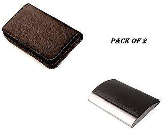 SK ENTR BROWN Soft, RFID Stainless Steel ATM / Visiting /Credit Card Holder, ID Card Holder (Pack of 2)
