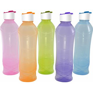 Trigal P.P. SWIG Water Bottle -1 ltr (Set of 5, Multicolour)