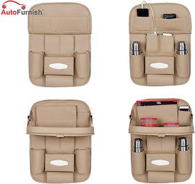 Autofurnish 3D Car Auto Seat Back Multi Pocket Storage Bag Organizer with Car Meal Tray (Beige)