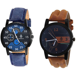 Stylish combo of Denim strap watch and Leather strap watch
