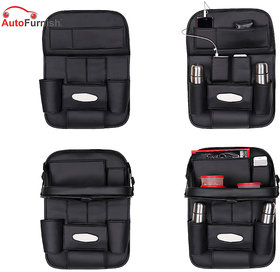 Autofurnish 3D Car Auto Seat Back Multi Pocket Storage Bag Organizer with Car Meal Tray (Black)