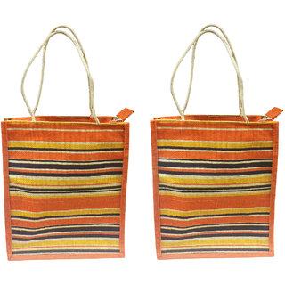 Benicia Jute Multicolored Stripes Medium Bag with slim cotton rope handle Combo of 2