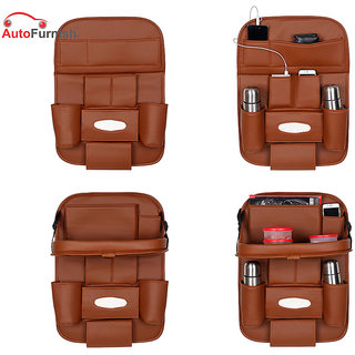 Autofurnish 3D Car Auto Seat Back Multi Pocket Storage Bag Organizer with Car Meal Tray (Tan)