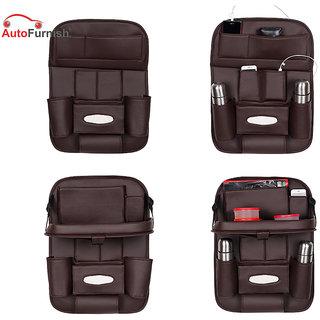 Autofurnish 3D Car Auto Seat Back Multi Pocket Storage Bag Organizer with Car Meal Tray (Coffee)